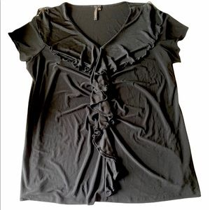 Susan Lawrence - Black ruffle trim cap sleeve